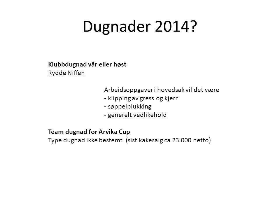 Dugnader 2014 Klubbdugnad vår eller høst Rydde Niffen