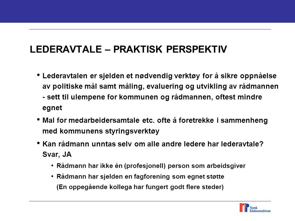 LEDERAVTALE – PRAKTISK PERSPEKTIV