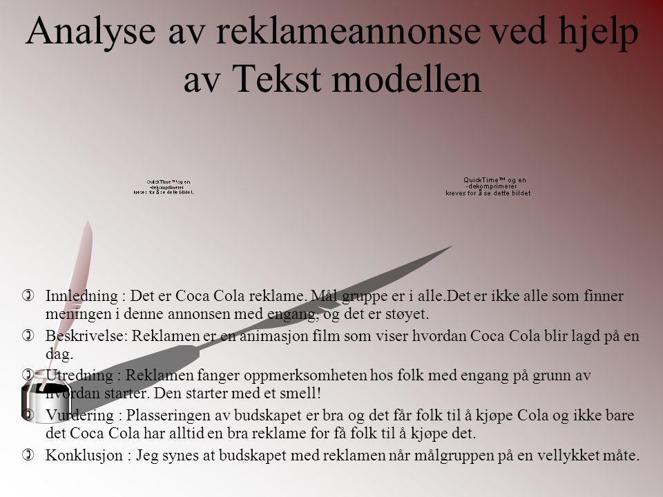 Analyse av reklameannonse ved hjelp av Tekst modellen
