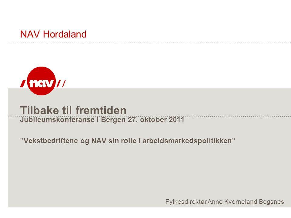 NAV Hordaland Tilbake til fremtiden Jubileumskonferanse i Bergen 27. oktober 2011 Vekstbedriftene og NAV sin rolle i arbeidsmarkedspolitikken