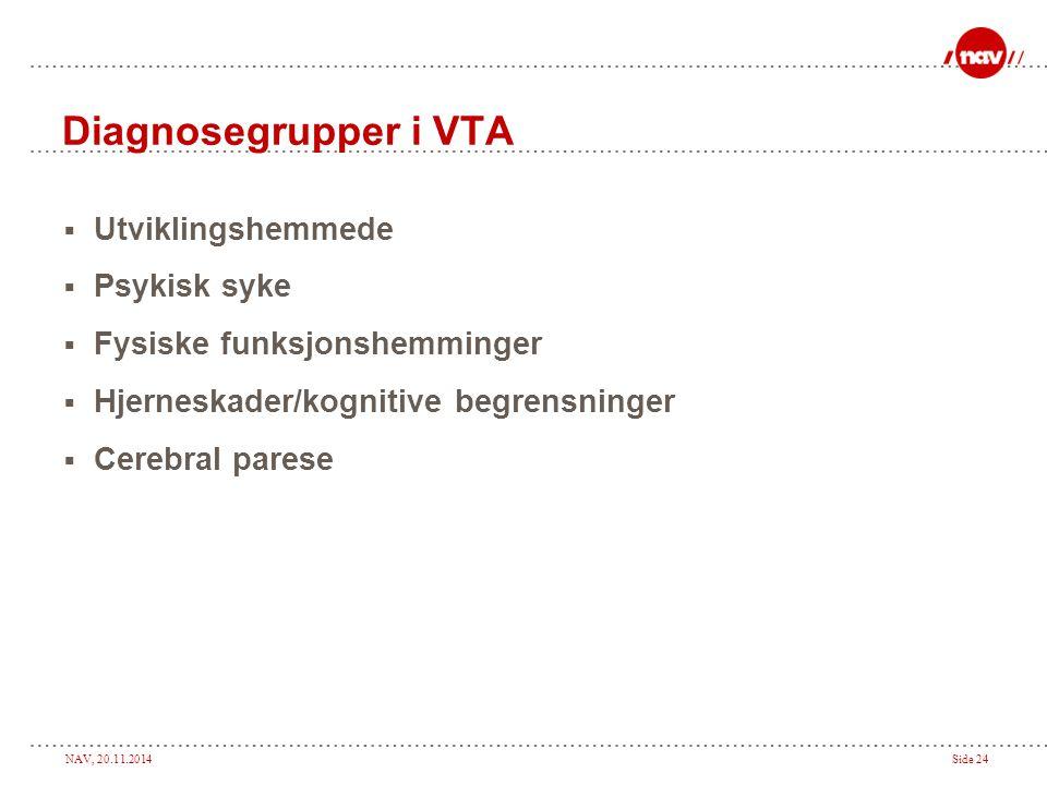 Diagnosegrupper i VTA Utviklingshemmede Psykisk syke