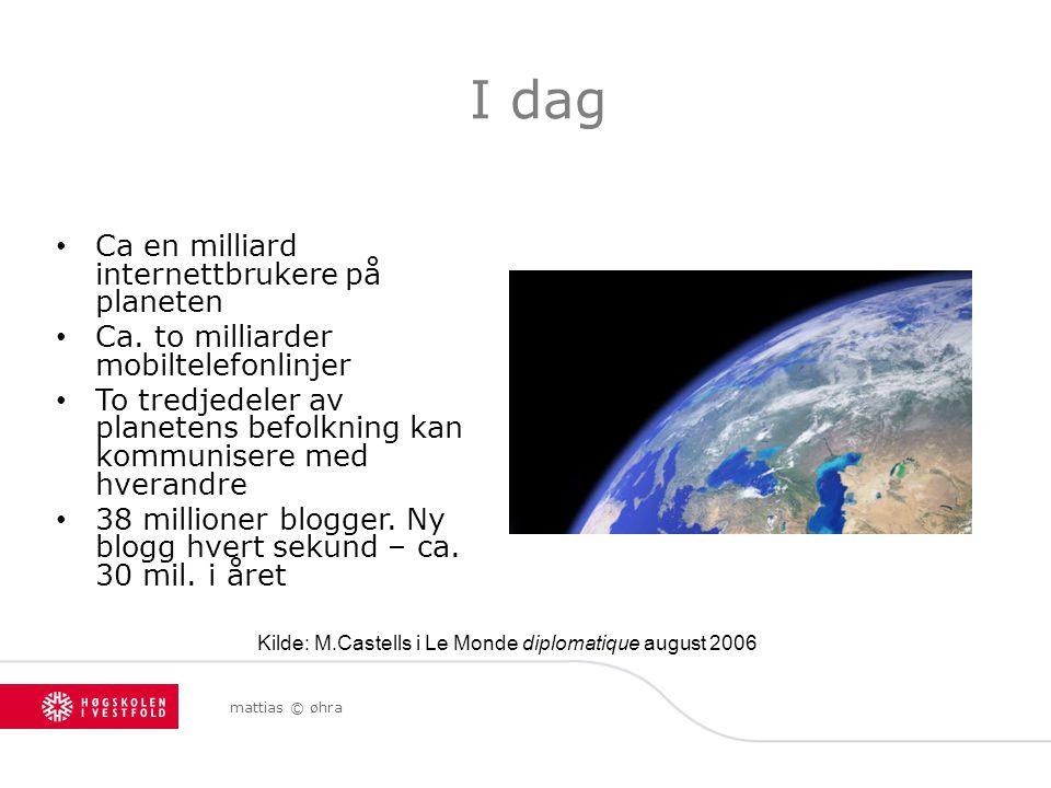 I dag Ca en milliard internettbrukere på planeten