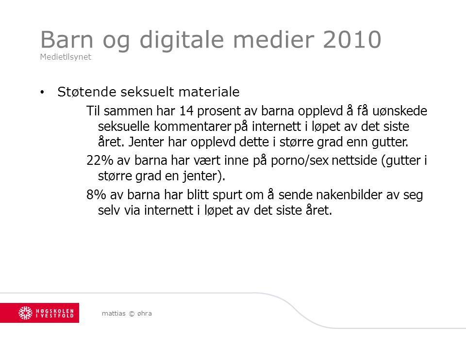 Barn og digitale medier 2010 Medietilsynet