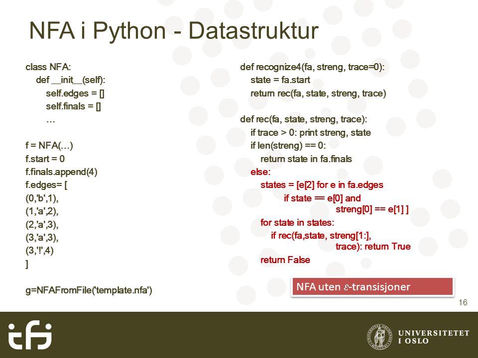 NFA i Python - Datastruktur