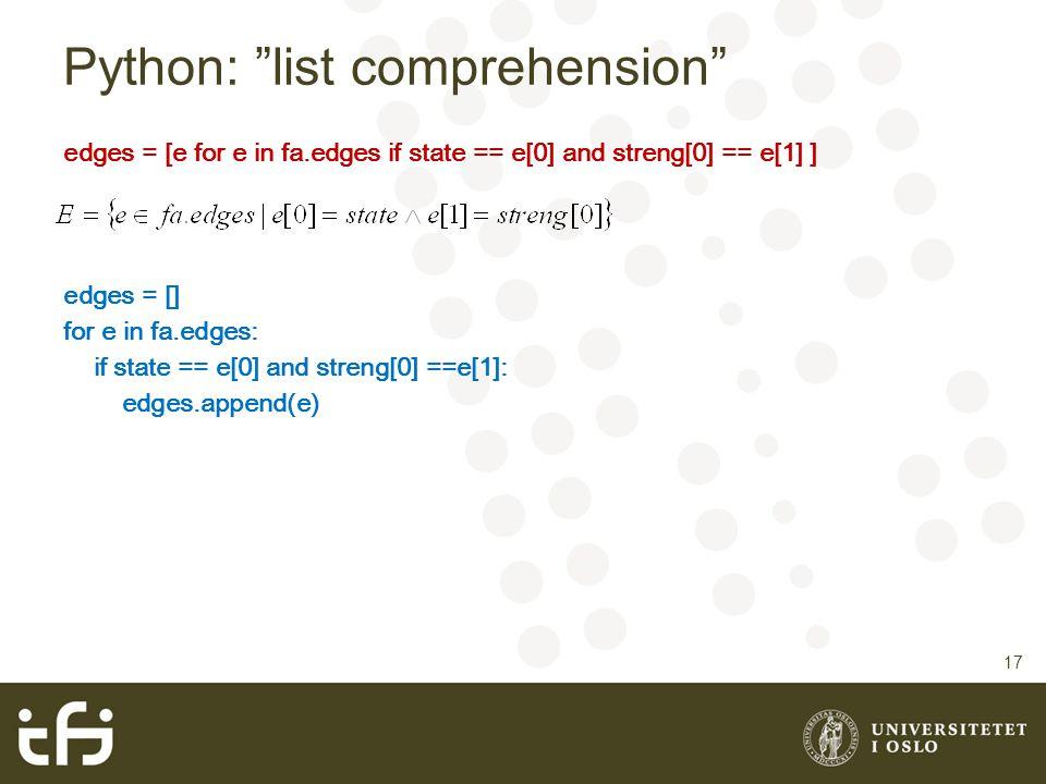 Python: list comprehension