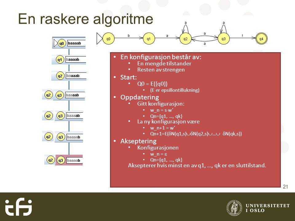 En raskere algoritme En konfigurasjon består av: Start: Oppdatering