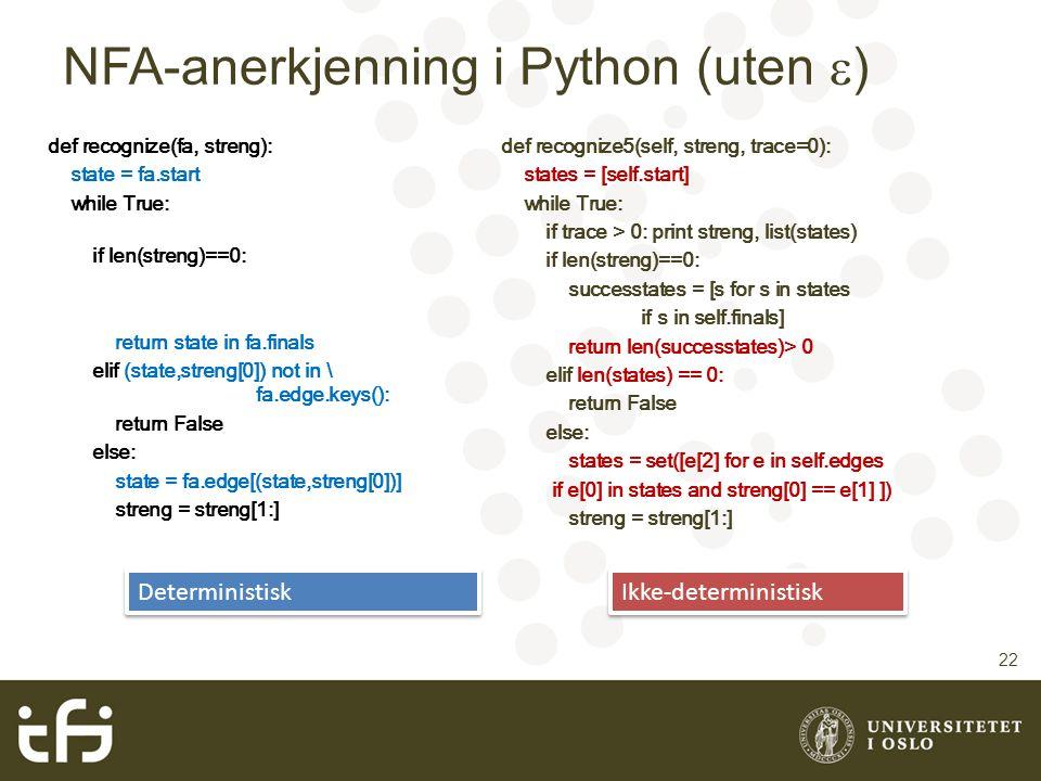 NFA-anerkjenning i Python (uten )