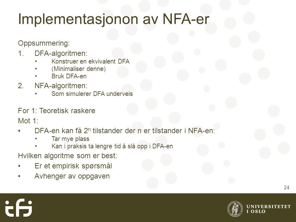 Implementasjonon av NFA-er
