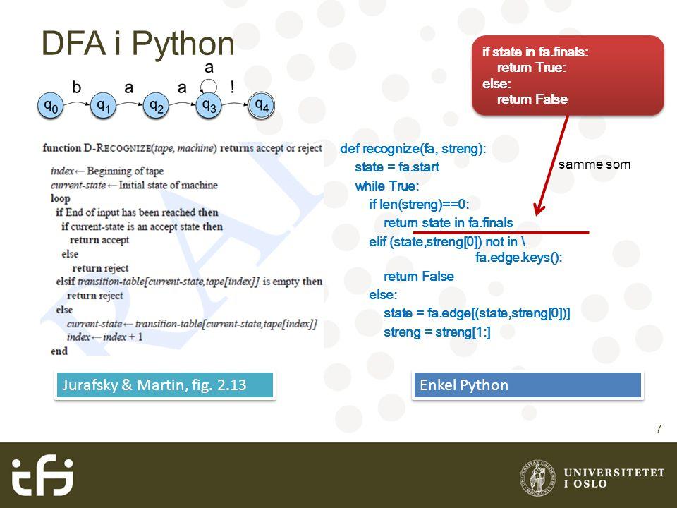 DFA i Python Jurafsky & Martin, fig. 2.13 Enkel Python