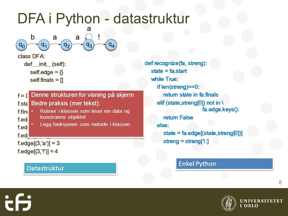 DFA i Python - datastruktur