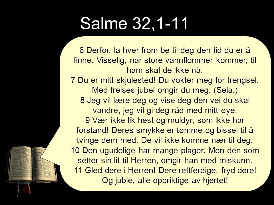 Salme 32,1-11 6 Derfor, la hver from be til deg den tid du er å finne. Visselig, når store vannflommer kommer, til ham skal de ikke nå.