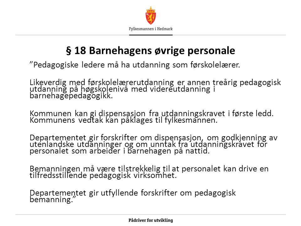 § 18 Barnehagens øvrige personale
