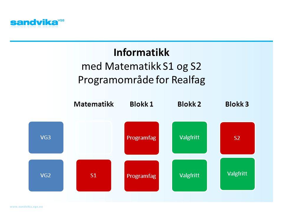 Informatikk med Matematikk S1 og S2 Programområde for Realfag
