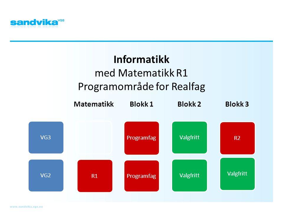 Informatikk med Matematikk R1 Programområde for Realfag