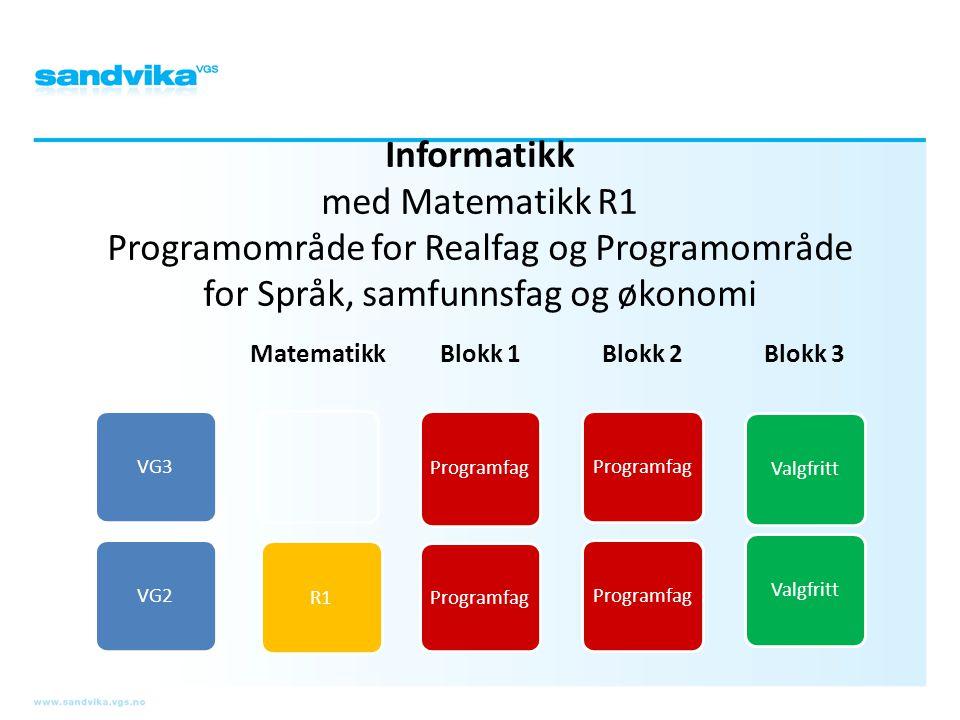 Informatikk med Matematikk R1 Programområde for Realfag og Programområde for Språk, samfunnsfag og økonomi
