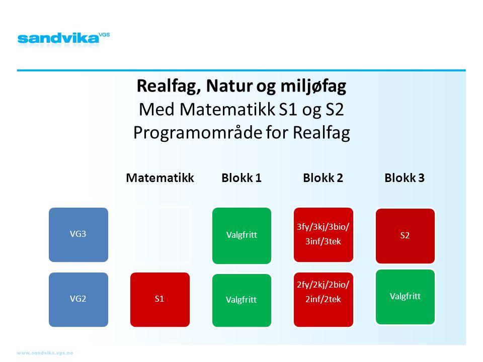 Realfag, Natur og miljøfag Med Matematikk S1 og S2 Programområde for Realfag