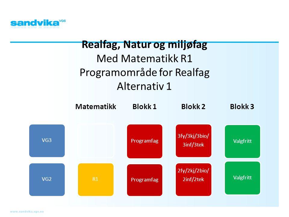 Realfag, Natur og miljøfag Med Matematikk R1 Programområde for Realfag Alternativ 1