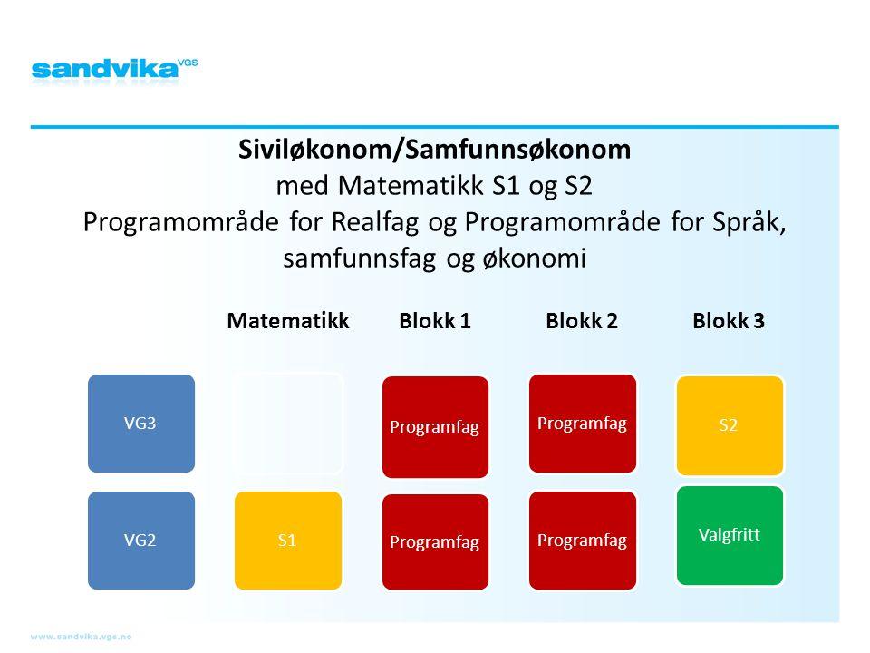 Siviløkonom/Samfunnsøkonom med Matematikk S1 og S2 Programområde for Realfag og Programområde for Språk, samfunnsfag og økonomi
