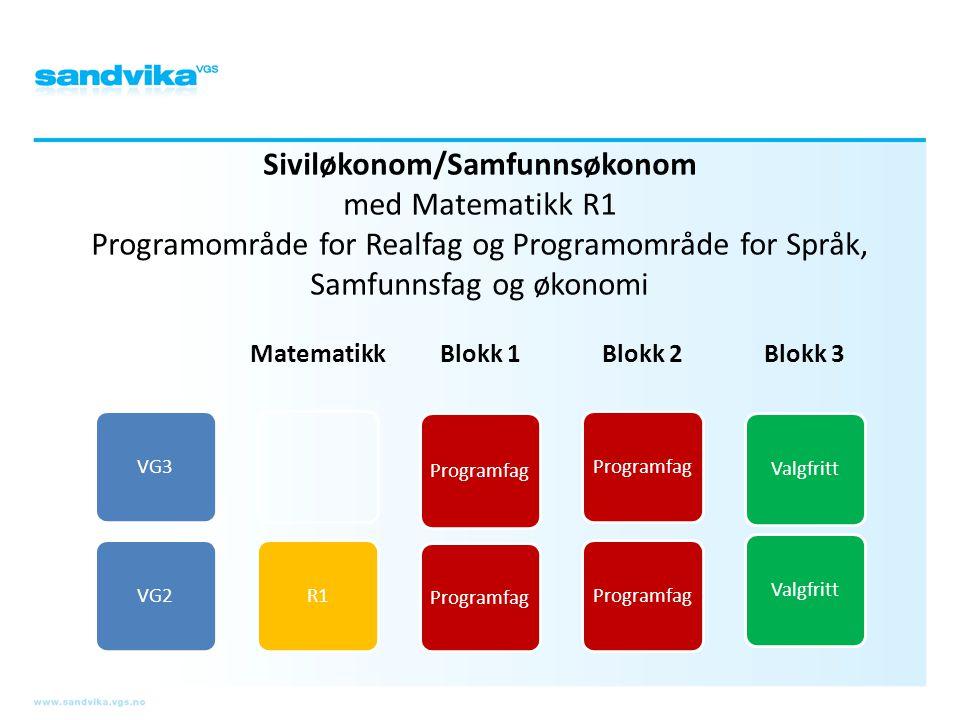 Siviløkonom/Samfunnsøkonom med Matematikk R1 Programområde for Realfag og Programområde for Språk, Samfunnsfag og økonomi