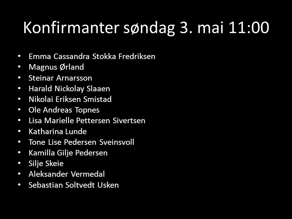 Konfirmanter søndag 3. mai 11:00