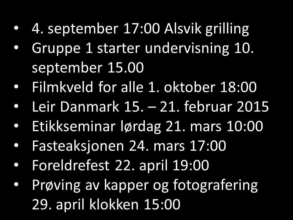 4. september 17:00 Alsvik grilling