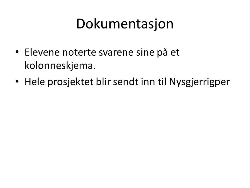 Dokumentasjon Elevene noterte svarene sine på et kolonneskjema.
