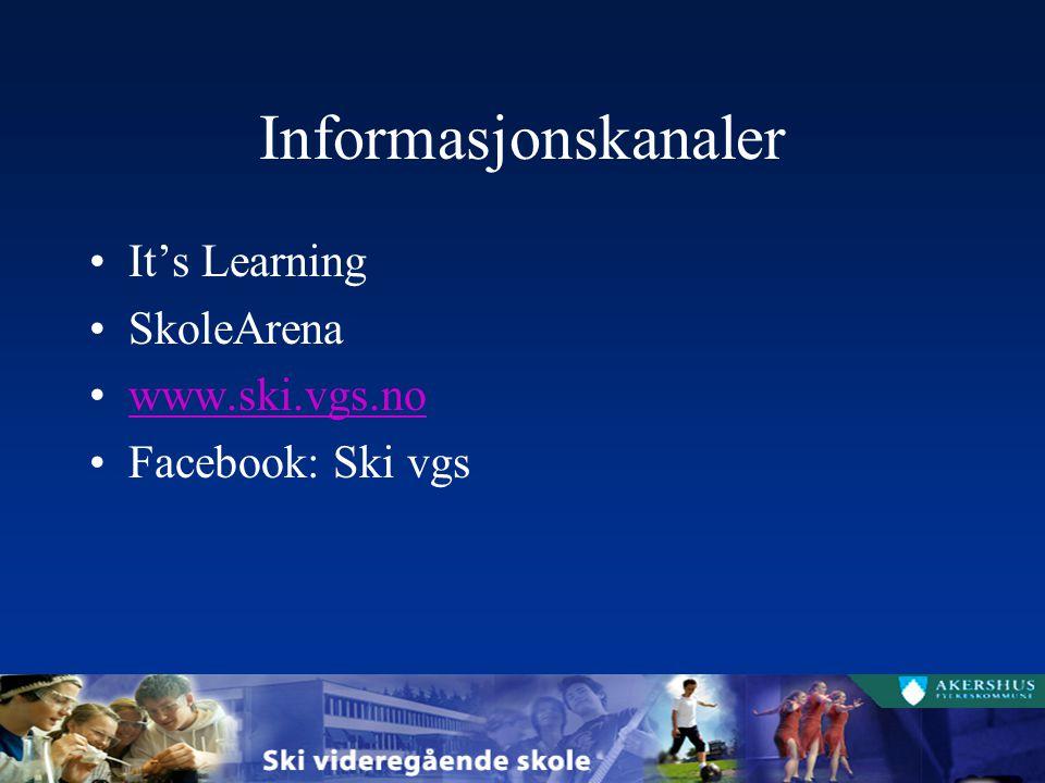Informasjonskanaler It's Learning SkoleArena www.ski.vgs.no