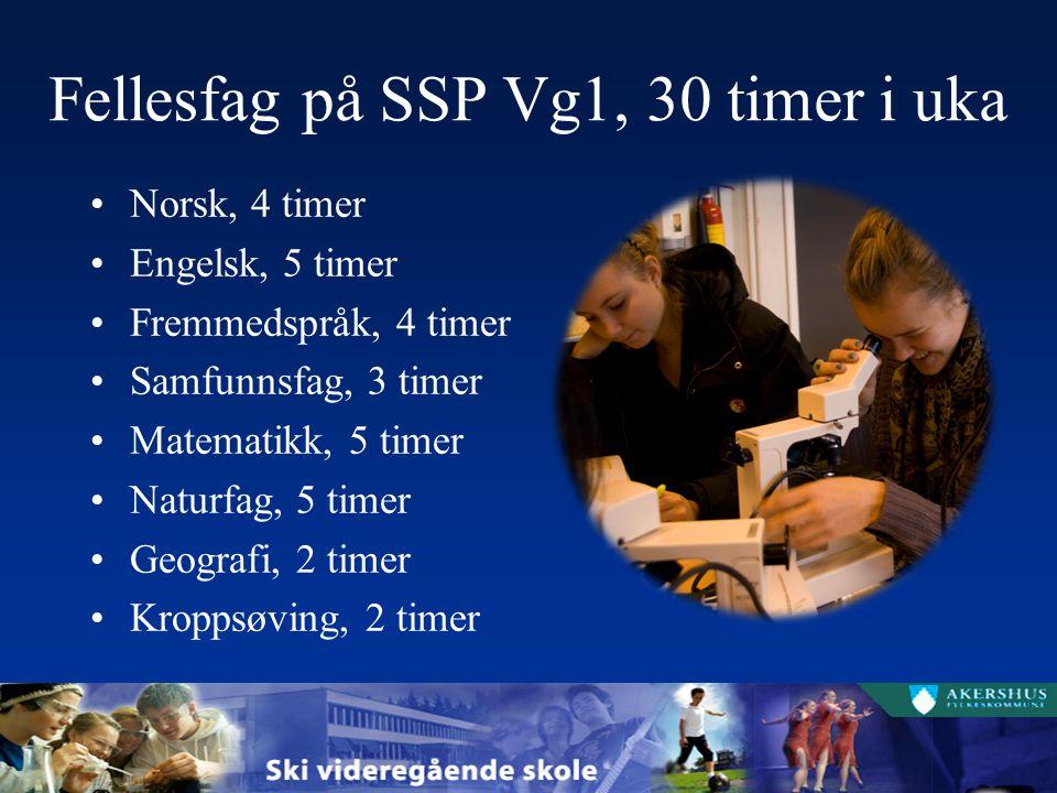 Fellesfag på SSP Vg1, 30 timer i uka