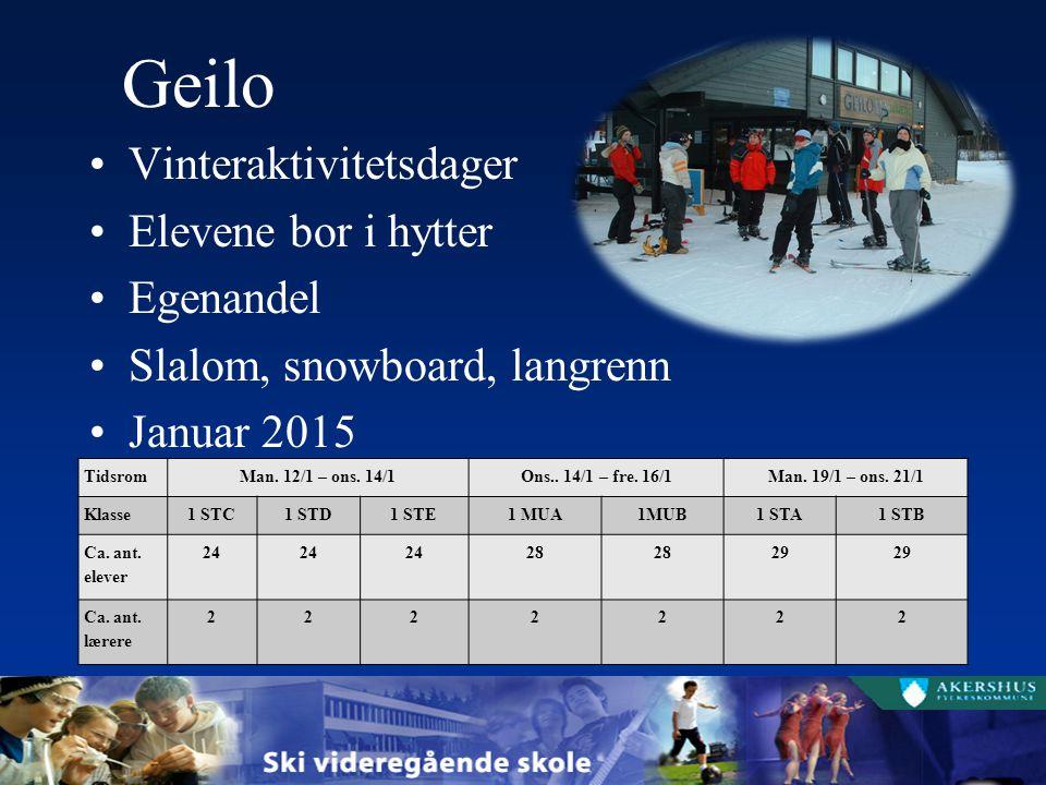Geilo Vinteraktivitetsdager Elevene bor i hytter Egenandel