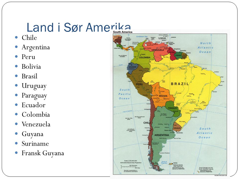 Land i Sør Amerika Chile Argentina Peru Bolivia Brasil Uruguay