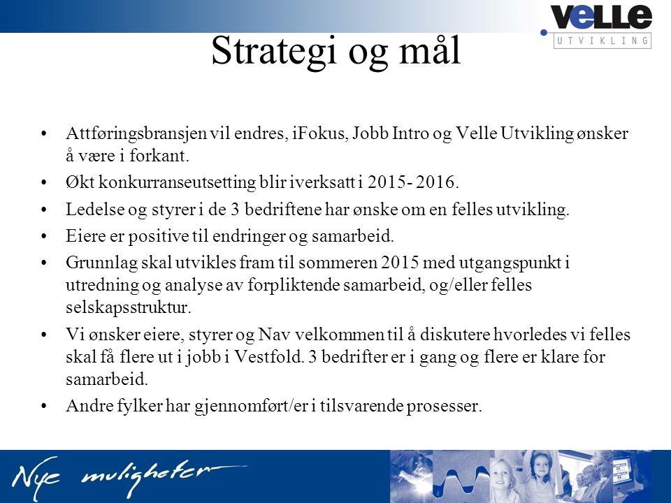 Strategi og mål Attføringsbransjen vil endres, iFokus, Jobb Intro og Velle Utvikling ønsker å være i forkant.