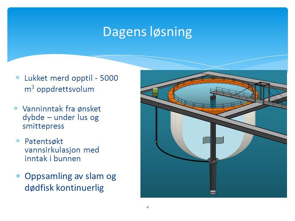 Dagens løsning Oppsamling av slam og dødfisk kontinuerlig