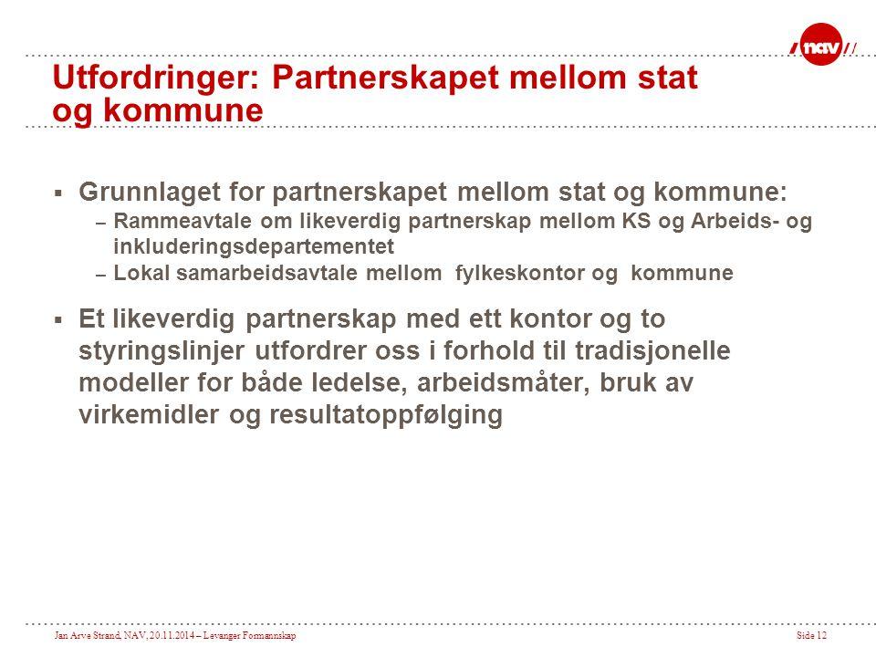 Utfordringer: Partnerskapet mellom stat og kommune