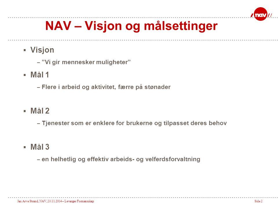 NAV – Visjon og målsettinger