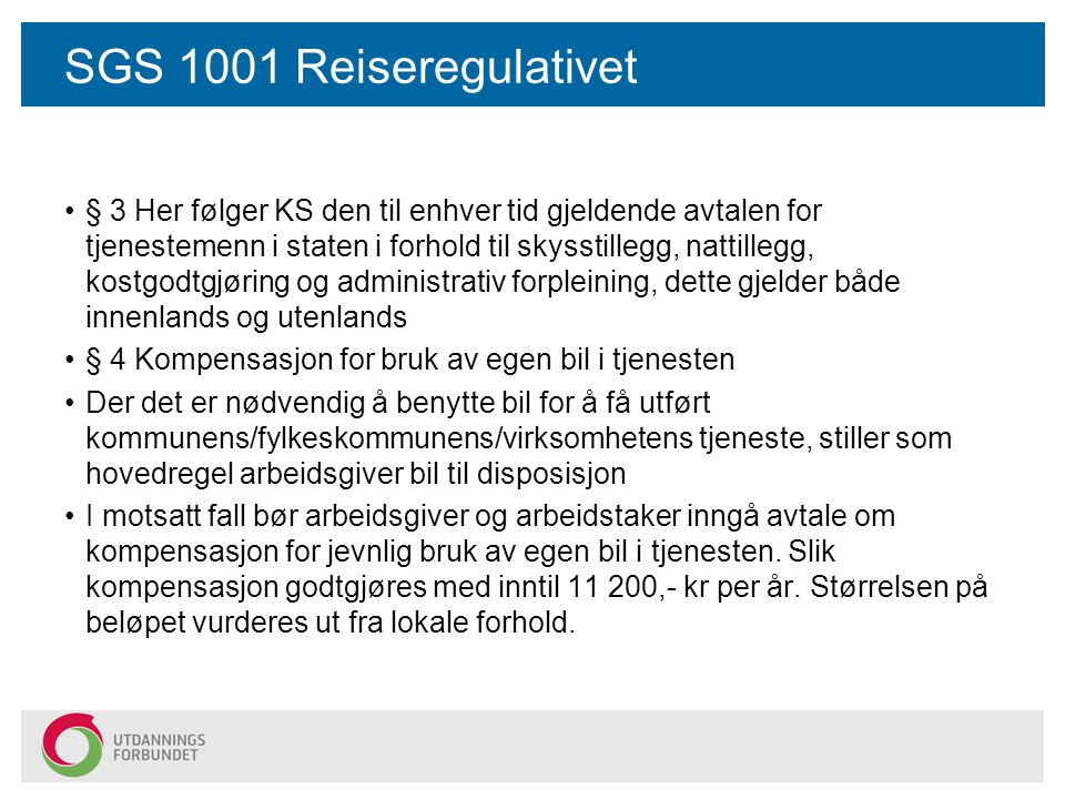 SGS 1001 Reiseregulativet