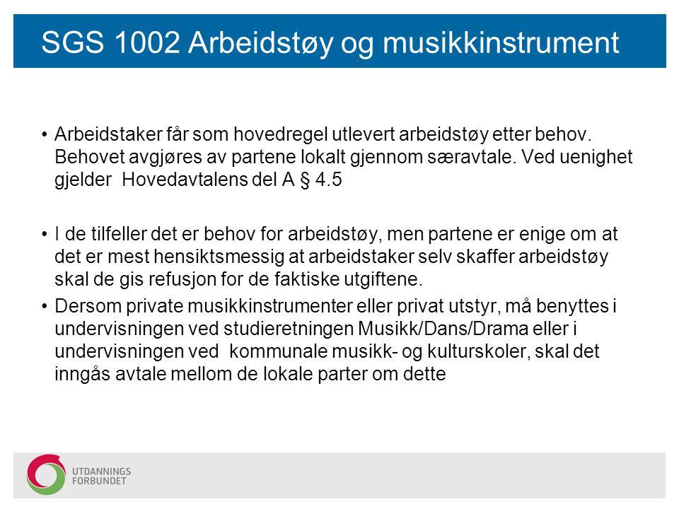 SGS 1002 Arbeidstøy og musikkinstrument