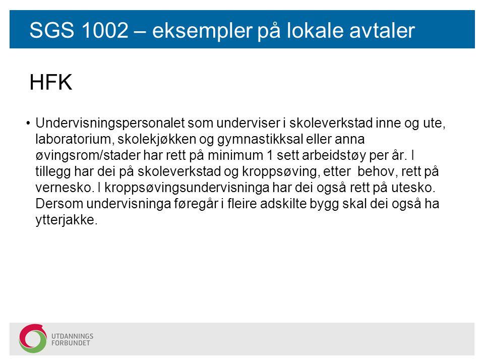 SGS 1002 – eksempler på lokale avtaler HFK