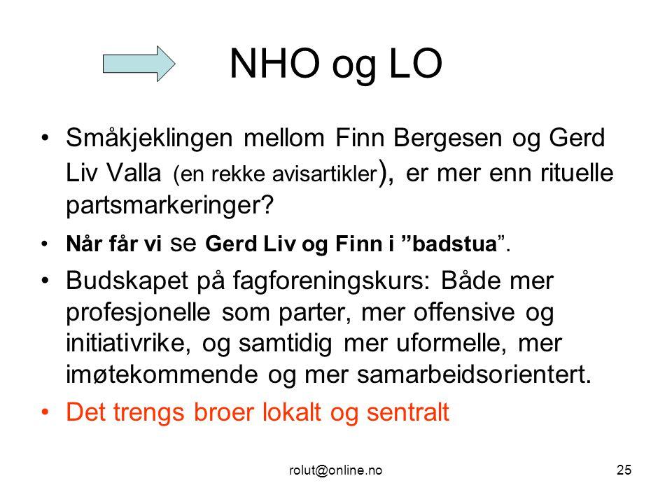 NHO og LO Småkjeklingen mellom Finn Bergesen og Gerd Liv Valla (en rekke avisartikler), er mer enn rituelle partsmarkeringer