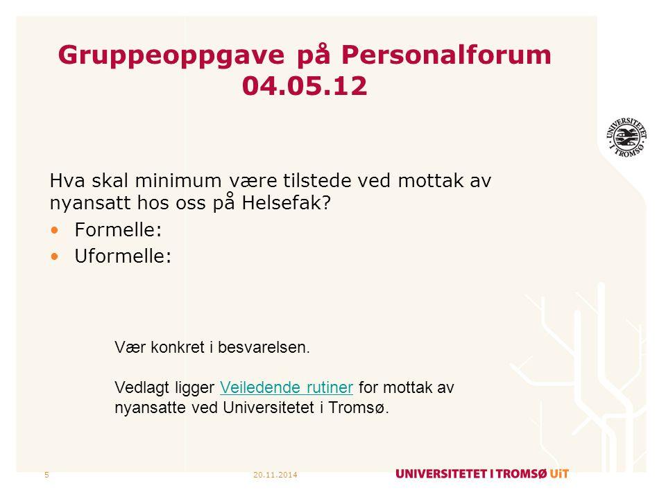 Gruppeoppgave på Personalforum 04.05.12