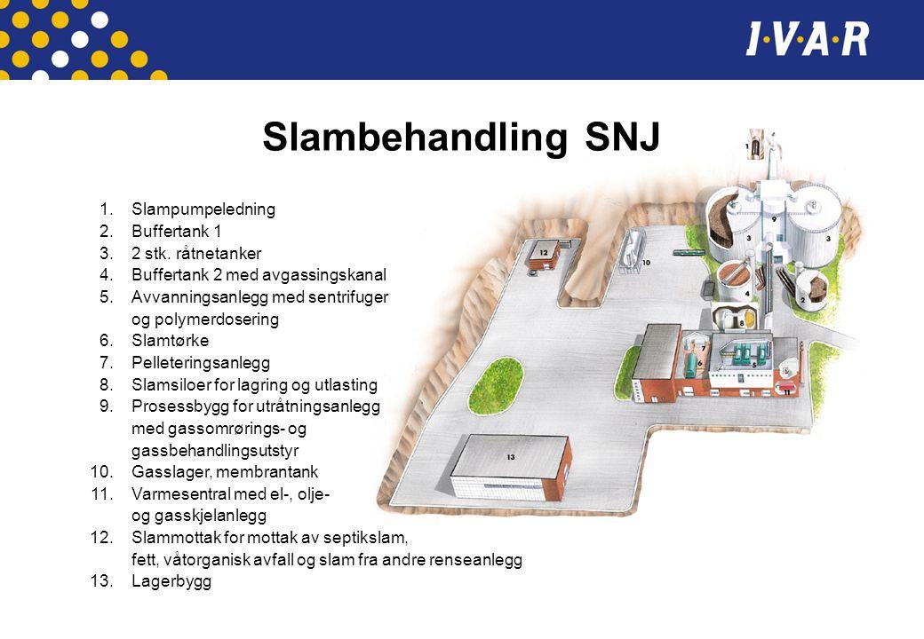 Slambehandling SNJ 1. Slampumpeledning 2. Buffertank 1