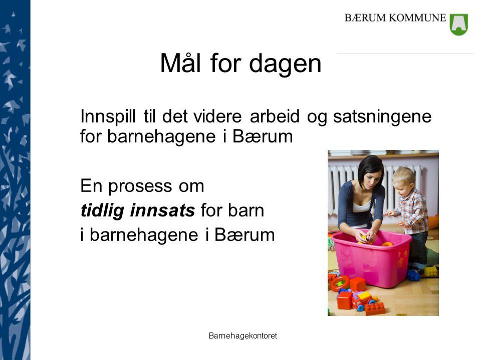 Mål for dagen Innspill til det videre arbeid og satsningene for barnehagene i Bærum. En prosess om.