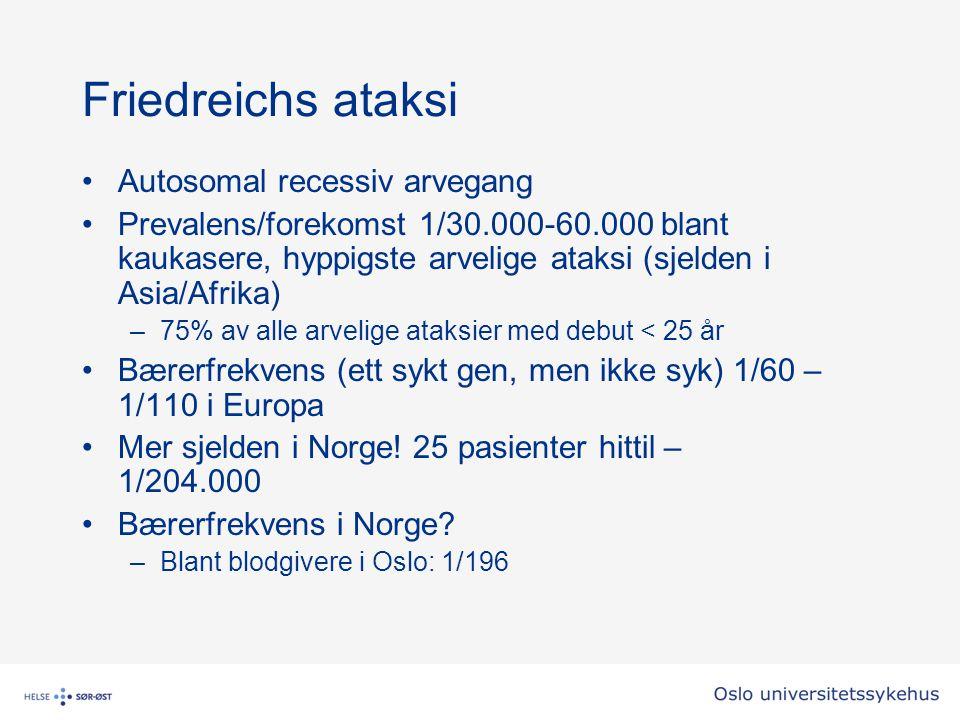 Friedreichs ataksi Autosomal recessiv arvegang