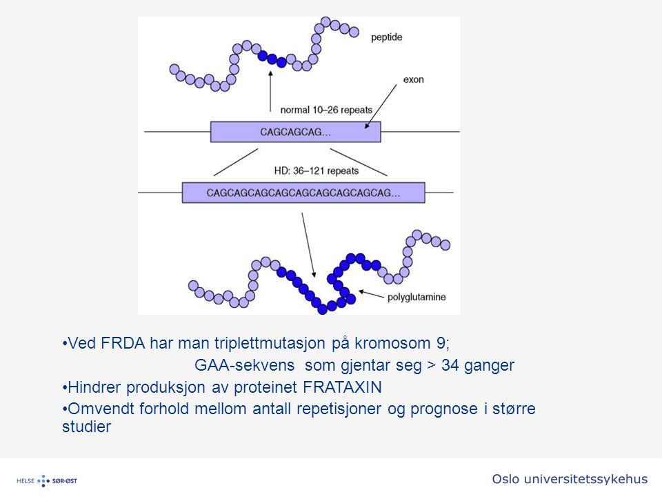 Ved FRDA har man triplettmutasjon på kromosom 9;