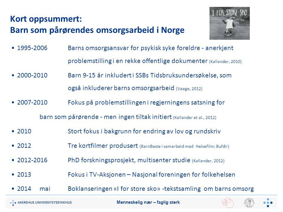 Kort oppsummert: Barn som pårørendes omsorgsarbeid i Norge