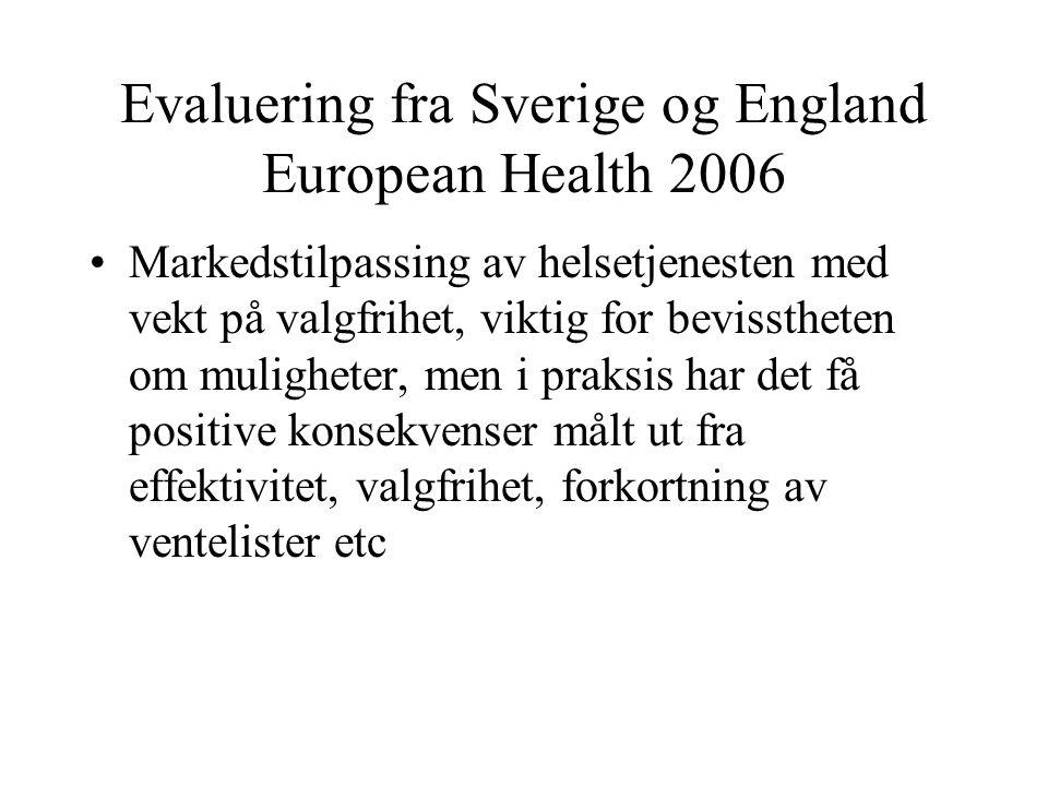 Evaluering fra Sverige og England European Health 2006