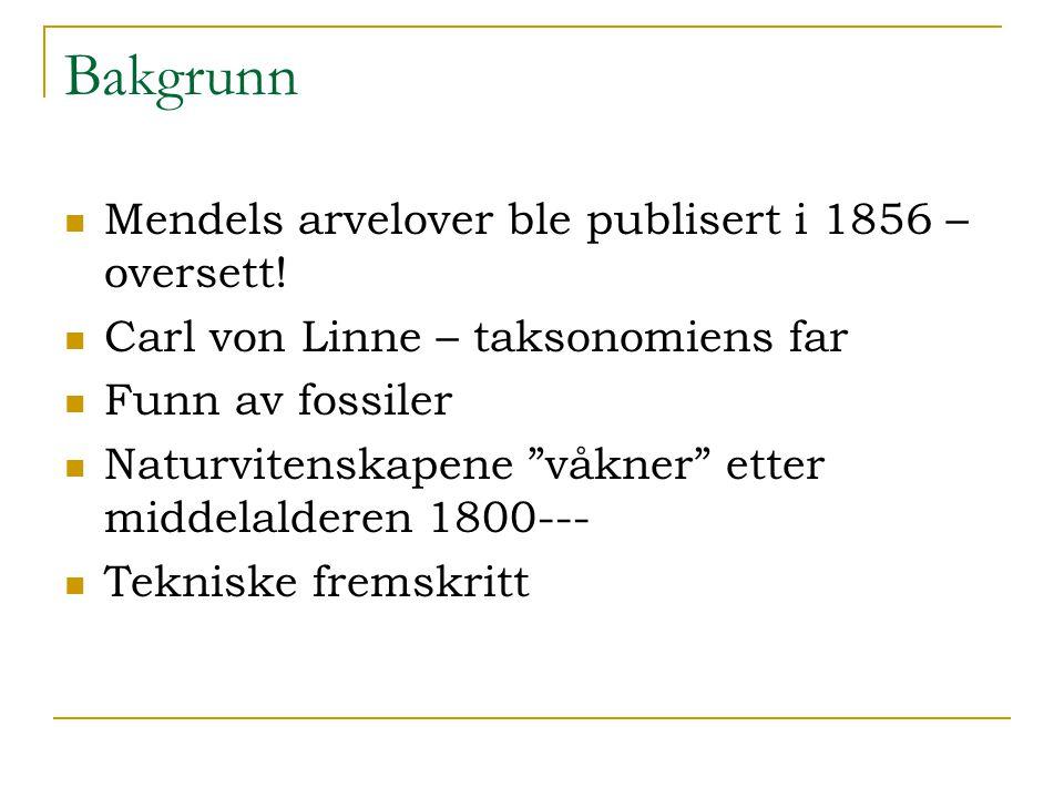 Bakgrunn Mendels arvelover ble publisert i 1856 –oversett!