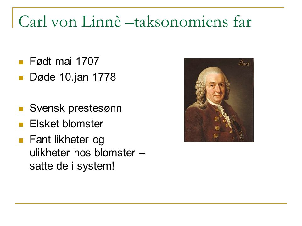 Carl von Linnè –taksonomiens far
