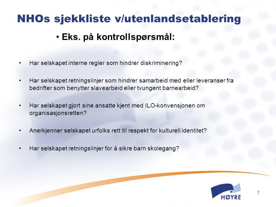 NHOs sjekkliste v/utenlandsetablering