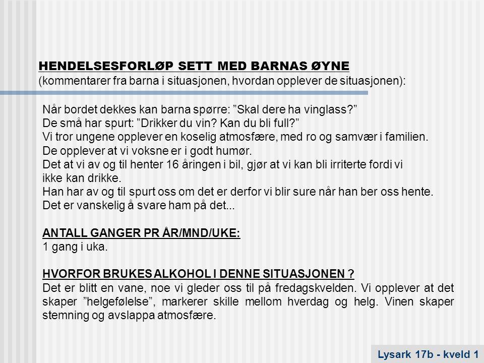 HENDELSESFORLØP SETT MED BARNAS ØYNE