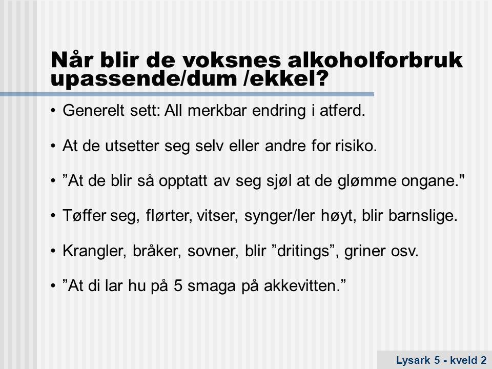 Når blir de voksnes alkoholforbruk upassende/dum /ekkel